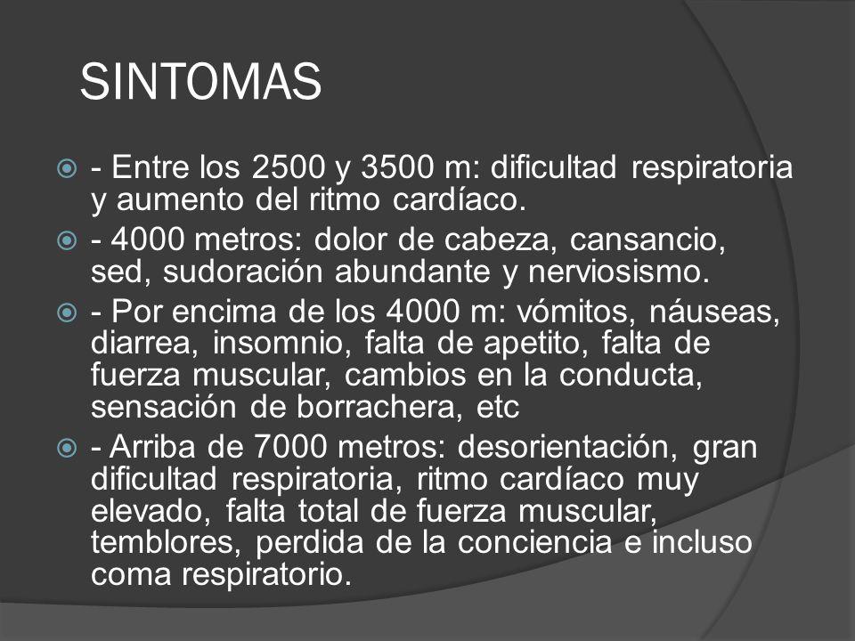 - Entre los 2500 y 3500 m: dificultad respiratoria y aumento del ritmo cardíaco. - 4000 metros: dolor de cabeza, cansancio, sed, sudoración abundante