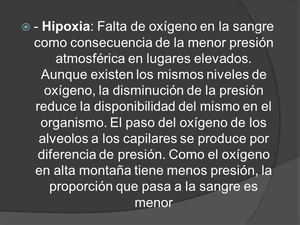 - Hipoxia: Falta de oxígeno en la sangre como consecuencia de la menor presión atmosférica en lugares elevados. Aunque existen los mismos niveles de o