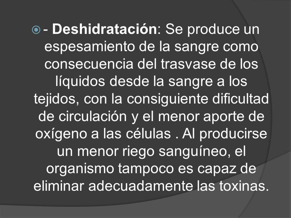 - Deshidratación: Se produce un espesamiento de la sangre como consecuencia del trasvase de los líquidos desde la sangre a los tejidos, con la consiguiente dificultad de circulación y el menor aporte de oxígeno a las células.