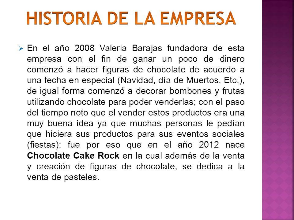 En el año 2008 Valeria Barajas fundadora de esta empresa con el fin de ganar un poco de dinero comenzó a hacer figuras de chocolate de acuerdo a una fecha en especial (Navidad, día de Muertos, Etc.), de igual forma comenzó a decorar bombones y frutas utilizando chocolate para poder venderlas; con el paso del tiempo noto que el vender estos productos era una muy buena idea ya que muchas personas le pedían que hiciera sus productos para sus eventos sociales (fiestas); fue por eso que en el año 2012 nace Chocolate Cake Rock en la cual además de la venta y creación de figuras de chocolate, se dedica a la venta de pasteles.