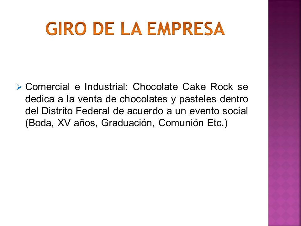 Comercial e Industrial: Chocolate Cake Rock se dedica a la venta de chocolates y pasteles dentro del Distrito Federal de acuerdo a un evento social (B