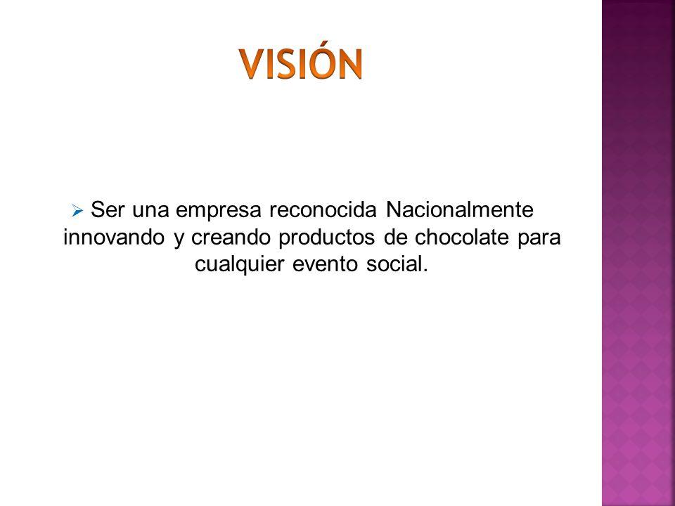 Ser una empresa reconocida Nacionalmente innovando y creando productos de chocolate para cualquier evento social.