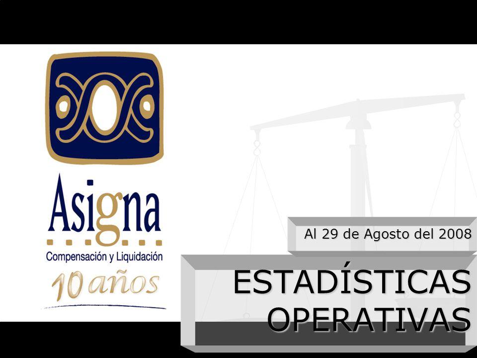 ESTADÍSTICAS OPERATIVAS Al 29 de Agosto del 2008