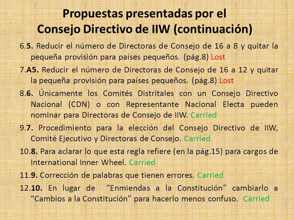 6.5. Reducir el número de Directoras de Consejo de 16 a 8 y quitar la pequeña provisión para países pequeños. (pág.8) Lost 7.A5. Reducir el número de
