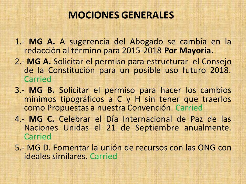 1.- MG A.A sugerencia del Abogado se cambia en la redacción al término para 2015-2018 Por Mayoría.