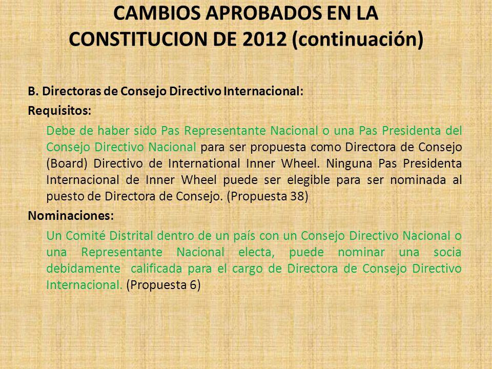 B. Directoras de Consejo Directivo Internacional: Requisitos: Debe de haber sido Pas Representante Nacional o una Pas Presidenta del Consejo Directivo