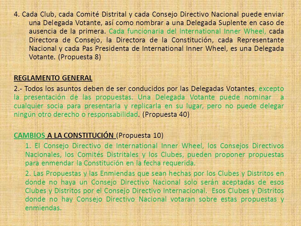 4. Cada Club, cada Comité Distrital y cada Consejo Directivo Nacional puede enviar una Delegada Votante, así como nombrar a una Delegada Suplente en c