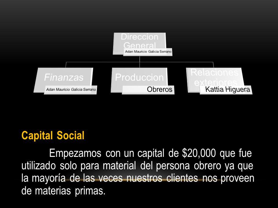 Capital Social Empezamos con un capital de $20,000 que fue utilizado solo para material del persona obrero ya que la mayoría de las veces nuestros clientes nos proveen de materias primas.