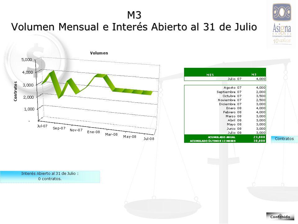 M3 Volumen Mensual e Interés Abierto al 31 de Julio Contratos Interés Abierto al 31 de Julio : 0 contratos.