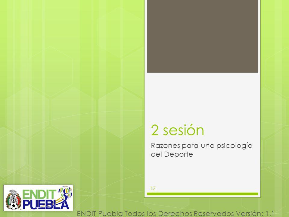 12 ENDIT Puebla Todos los Derechos Reservados Versión: 1.1 2 sesión 12 Razones para una psicología del Deporte