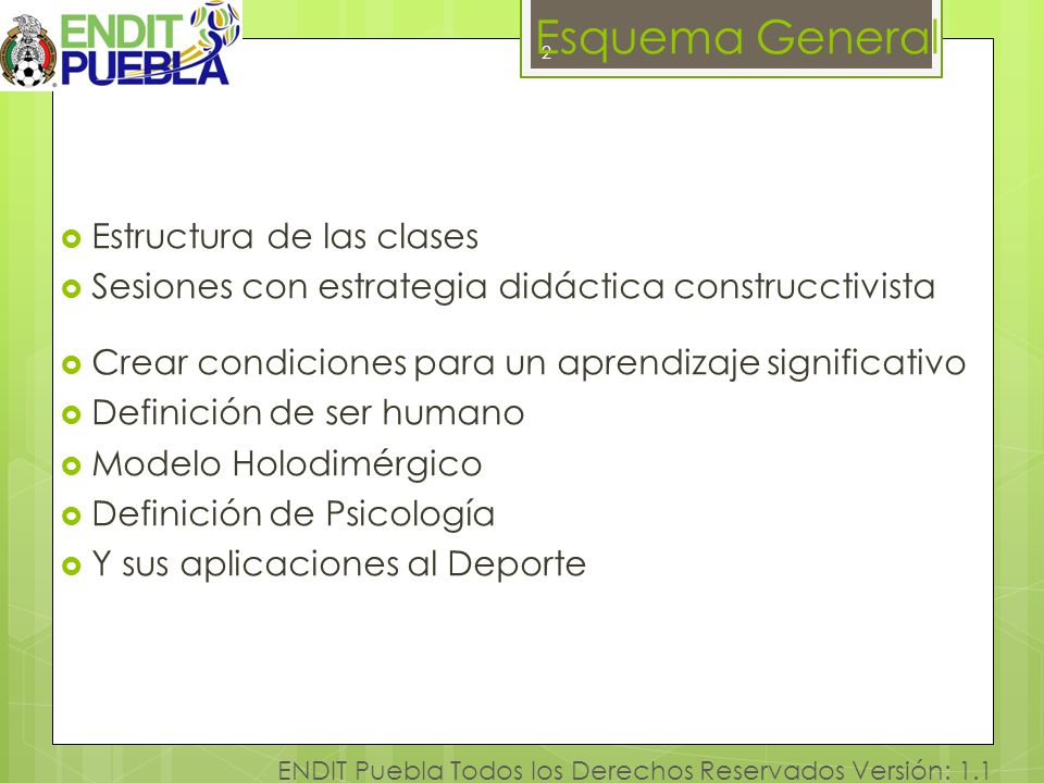 2 ENDIT Puebla Todos los Derechos Reservados Versión: 1.1 Esquema General Estructura de las clases Sesiones con estrategia didáctica construcctivista