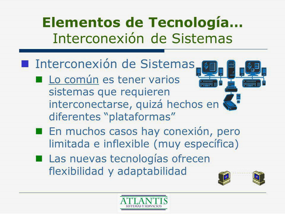 Elementos de Tecnología… Interconexión de Sistemas Interconexión de Sistemas Lo común es tener varios sistemas que requieren interconectarse, quizá hechos en diferentes plataformas En muchos casos hay conexión, pero limitada e inflexible (muy específica) Las nuevas tecnologías ofrecen flexibilidad y adaptabilidad