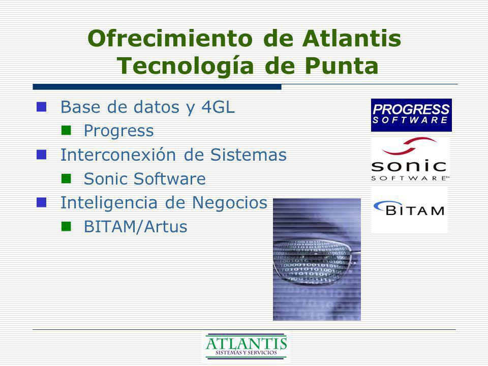 Ofrecimiento de Atlantis Tecnología de Punta Base de datos y 4GL Progress Interconexión de Sistemas Sonic Software Inteligencia de Negocios BITAM/Artus