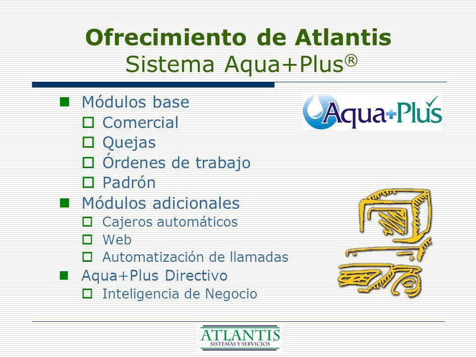 Ofrecimiento de Atlantis Sistema Aqua+Plus ® Módulos base Comercial Quejas Órdenes de trabajo Padrón Módulos adicionales Cajeros automáticos Web Automatización de llamadas Aqua+Plus Directivo Inteligencia de Negocio