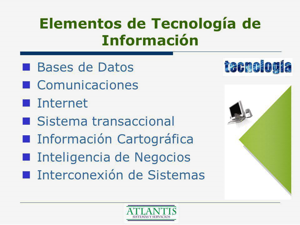 Elementos de Tecnología de Información Bases de Datos Comunicaciones Internet Sistema transaccional Información Cartográfica Inteligencia de Negocios Interconexión de Sistemas