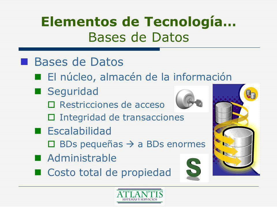 Elementos de Tecnología… Bases de Datos Bases de Datos El núcleo, almacén de la información Seguridad Restricciones de acceso Integridad de transacciones Escalabilidad BDs pequeñas a BDs enormes Administrable Costo total de propiedad