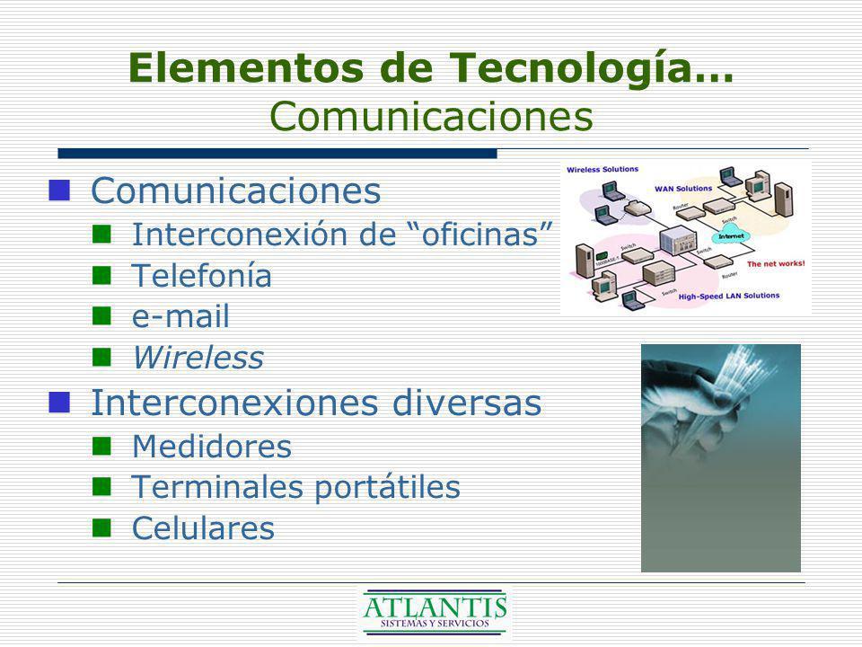 Elementos de Tecnología… Comunicaciones Comunicaciones Interconexión de oficinas Telefonía e-mail Wireless Interconexiones diversas Medidores Terminales portátiles Celulares