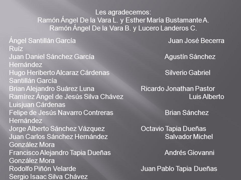 Les agradecemos: Ramón Ángel De la Vara L. y Esther María Bustamante A. Ramón Ángel De la Vara B. y Lucero Landeros C. Ángel Santillán García Juan Jos