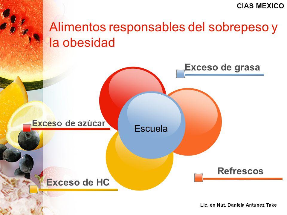 Exceso de azúcar Exceso de HC Exceso de grasa Refrescos Alimentos responsables del sobrepeso y la obesidad Escuela CIAS MEXICO Lic. en Nut. Daniela An