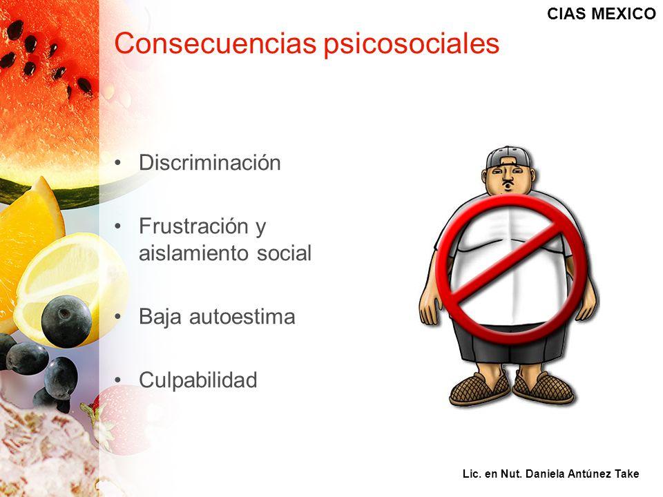 Consecuencias psicosociales Discriminación Frustración y aislamiento social Baja autoestima Culpabilidad CIAS MEXICO Lic. en Nut. Daniela Antúnez Take
