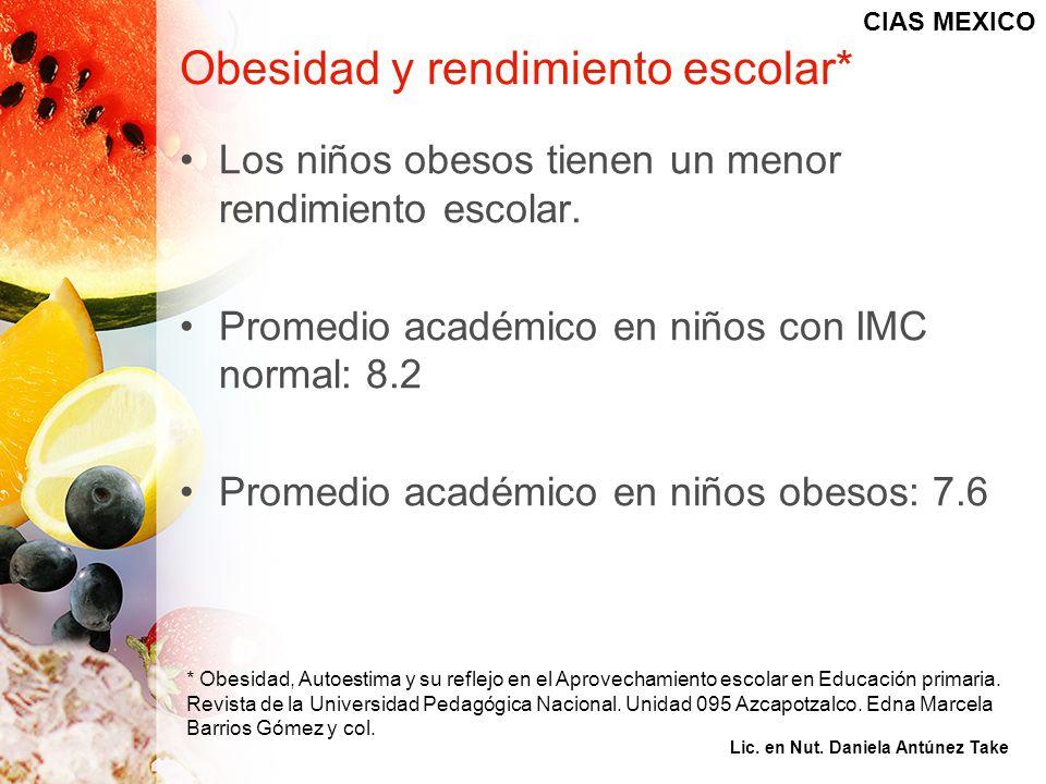 Obesidad y rendimiento escolar* Los niños obesos tienen un menor rendimiento escolar. Promedio académico en niños con IMC normal: 8.2 Promedio académi
