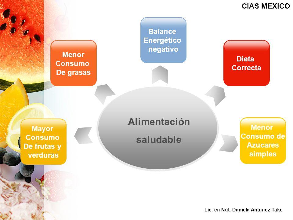 Mayor Consumo De frutas y verduras Dieta Correcta Menor Consumo De grasas Balance Energético negativo Alimentación saludable CIAS MEXICO Menor Consumo de Azucares simples Lic.