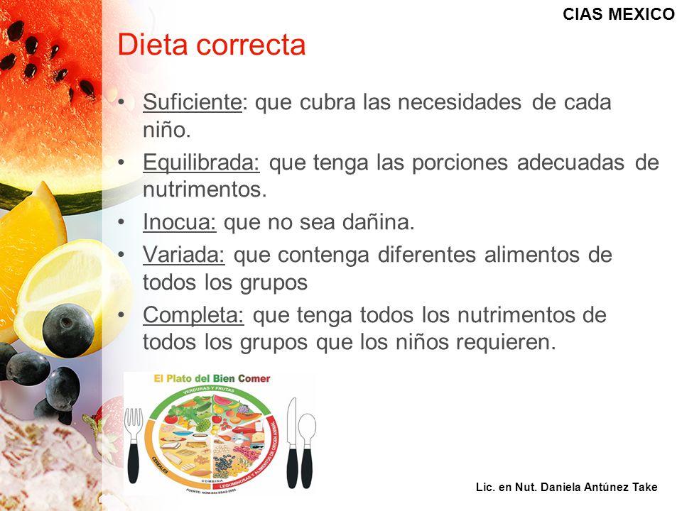 Dieta correcta Suficiente: que cubra las necesidades de cada niño. Equilibrada: que tenga las porciones adecuadas de nutrimentos. Inocua: que no sea d