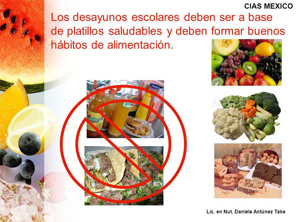 Los desayunos escolares deben ser a base de platillos saludables y deben formar buenos hábitos de alimentación. CIAS MEXICO Lic. en Nut. Daniela Antún