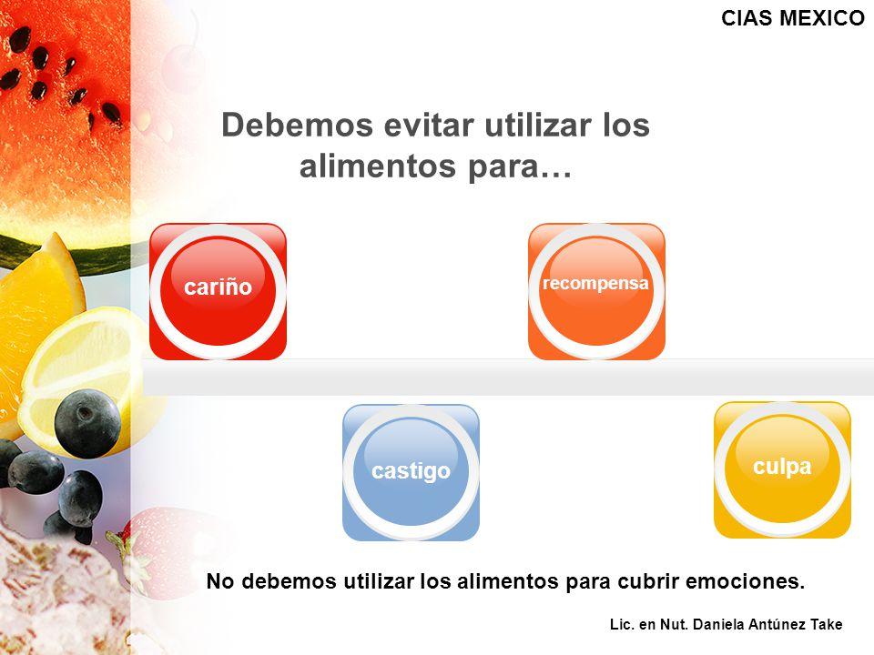 Debemos evitar utilizar los alimentos para… cariño castigo recompensa culpa No debemos utilizar los alimentos para cubrir emociones. CIAS MEXICO Lic.