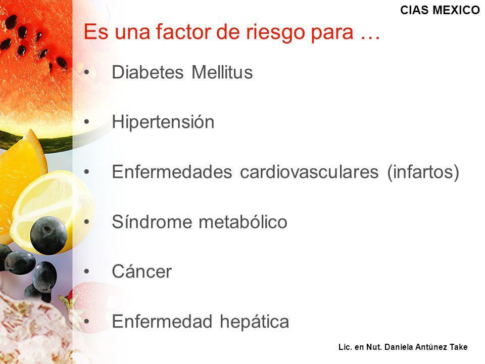 Es una factor de riesgo para … Diabetes Mellitus Hipertensión Enfermedades cardiovasculares (infartos) Síndrome metabólico Cáncer Enfermedad hepática
