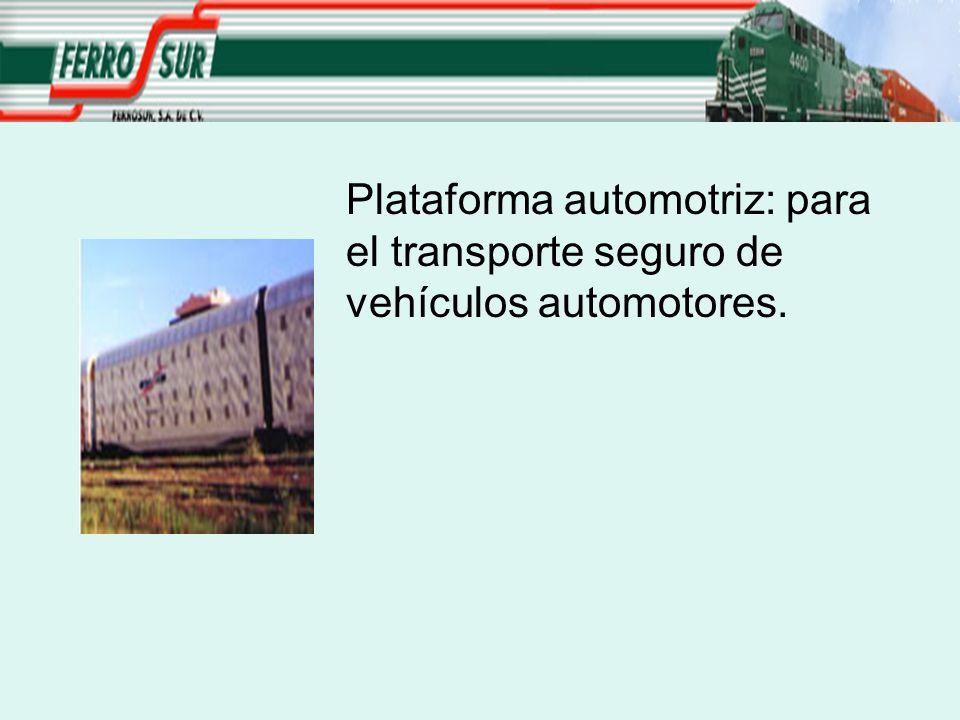 Plataforma automotriz: para el transporte seguro de vehículos automotores.