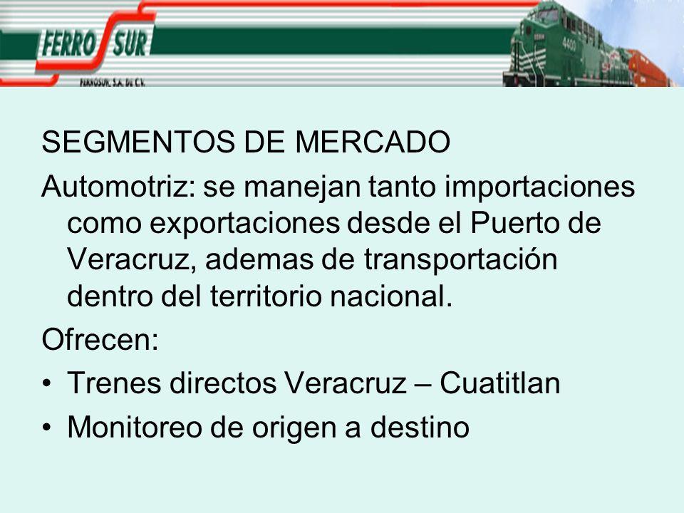 SEGMENTOS DE MERCADO Automotriz: se manejan tanto importaciones como exportaciones desde el Puerto de Veracruz, ademas de transportación dentro del territorio nacional.