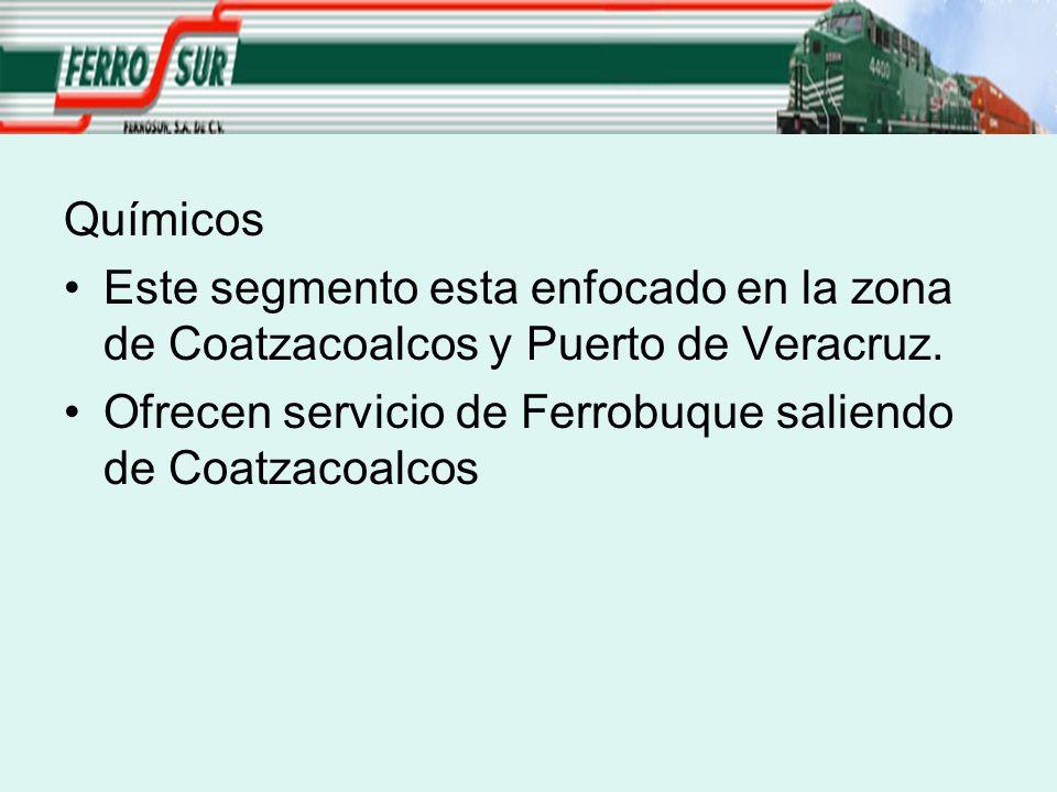 Químicos Este segmento esta enfocado en la zona de Coatzacoalcos y Puerto de Veracruz. Ofrecen servicio de Ferrobuque saliendo de Coatzacoalcos