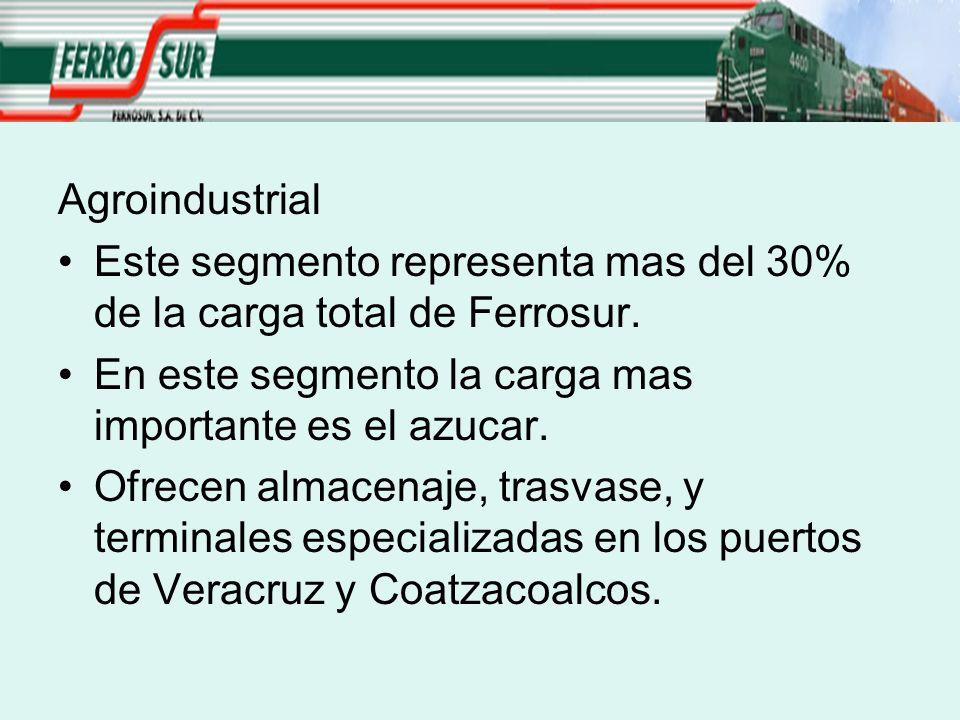 Agroindustrial Este segmento representa mas del 30% de la carga total de Ferrosur. En este segmento la carga mas importante es el azucar. Ofrecen alma