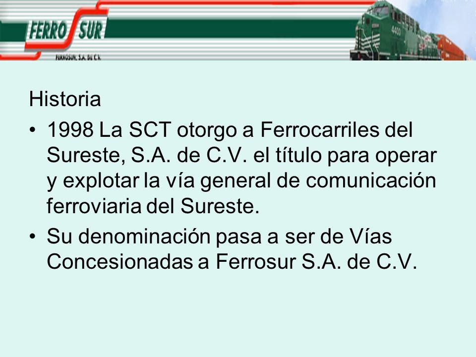 Historia 1998 La SCT otorgo a Ferrocarriles del Sureste, S.A. de C.V. el título para operar y explotar la vía general de comunicación ferroviaria del