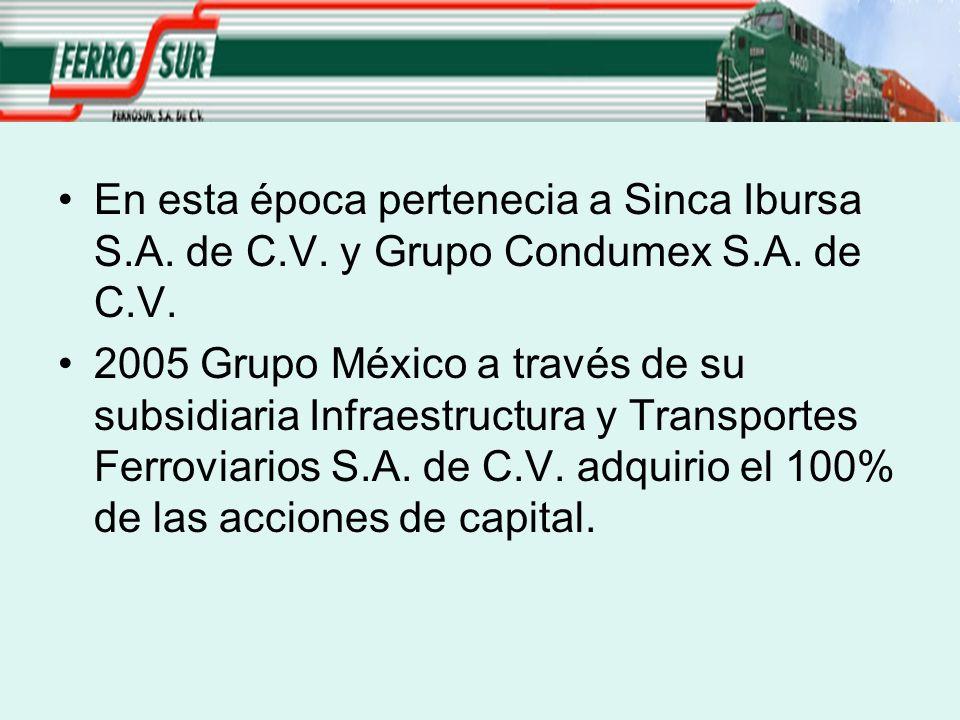 En esta época pertenecia a Sinca Ibursa S.A. de C.V. y Grupo Condumex S.A. de C.V. 2005 Grupo México a través de su subsidiaria Infraestructura y Tran
