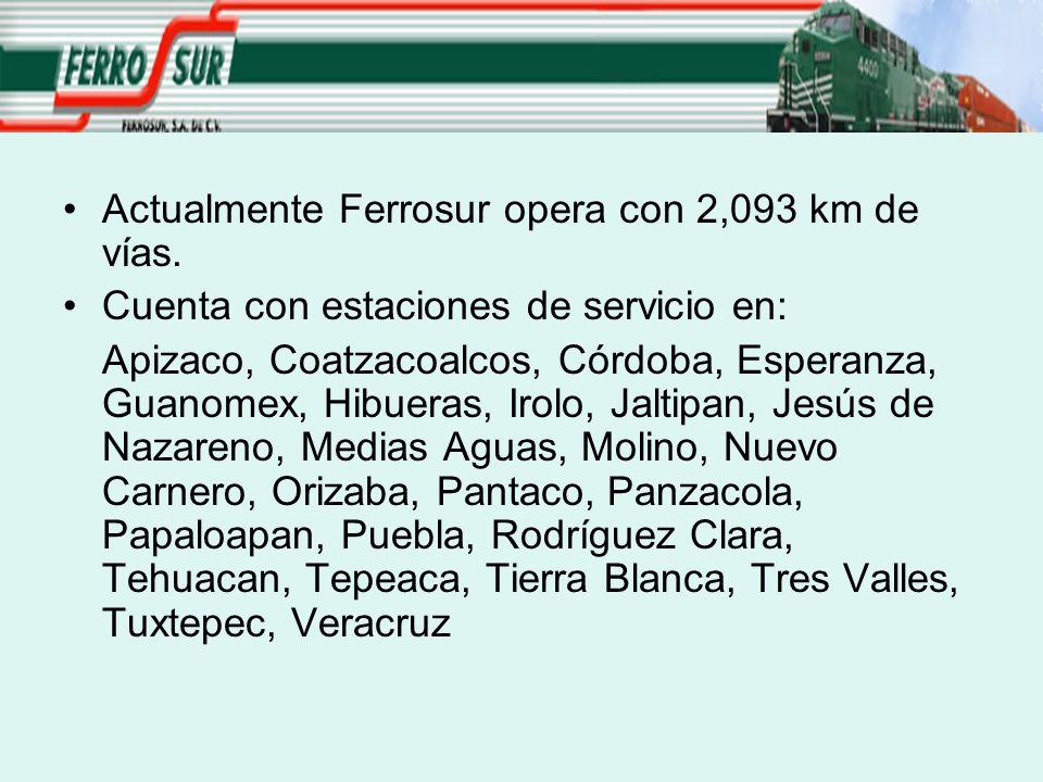 Actualmente Ferrosur opera con 2,093 km de vías. Cuenta con estaciones de servicio en: Apizaco, Coatzacoalcos, Córdoba, Esperanza, Guanomex, Hibueras,