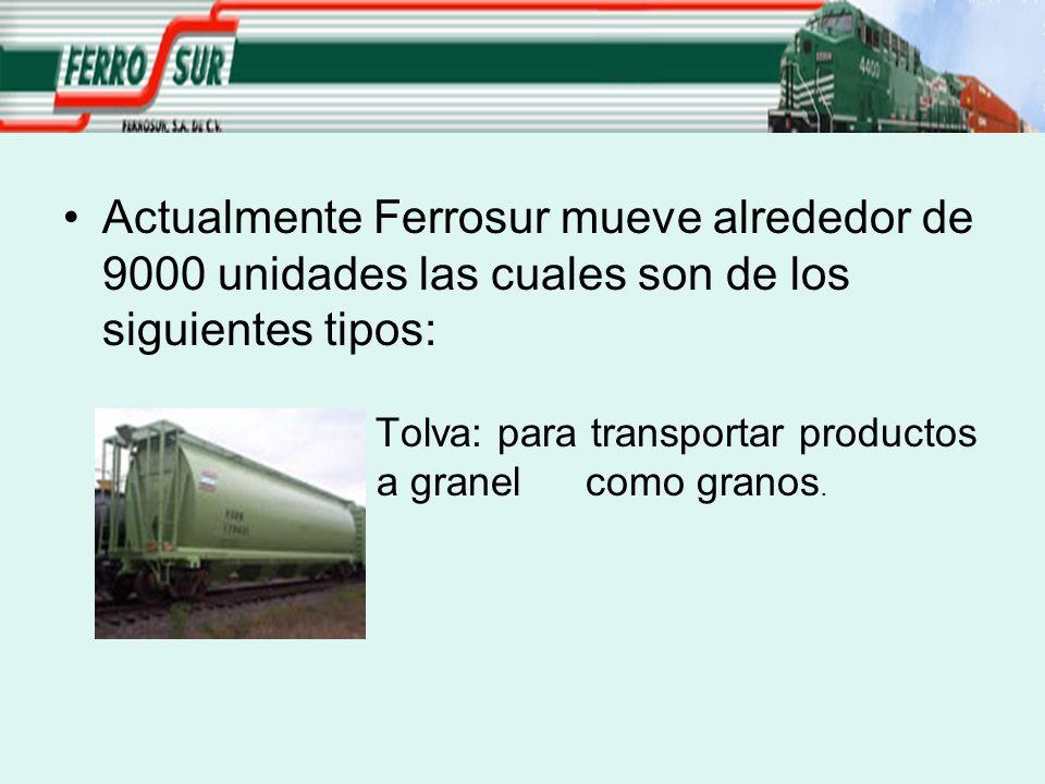 Actualmente Ferrosur mueve alrededor de 9000 unidades las cuales son de los siguientes tipos: Tolva: para transportar productos a granel como granos.