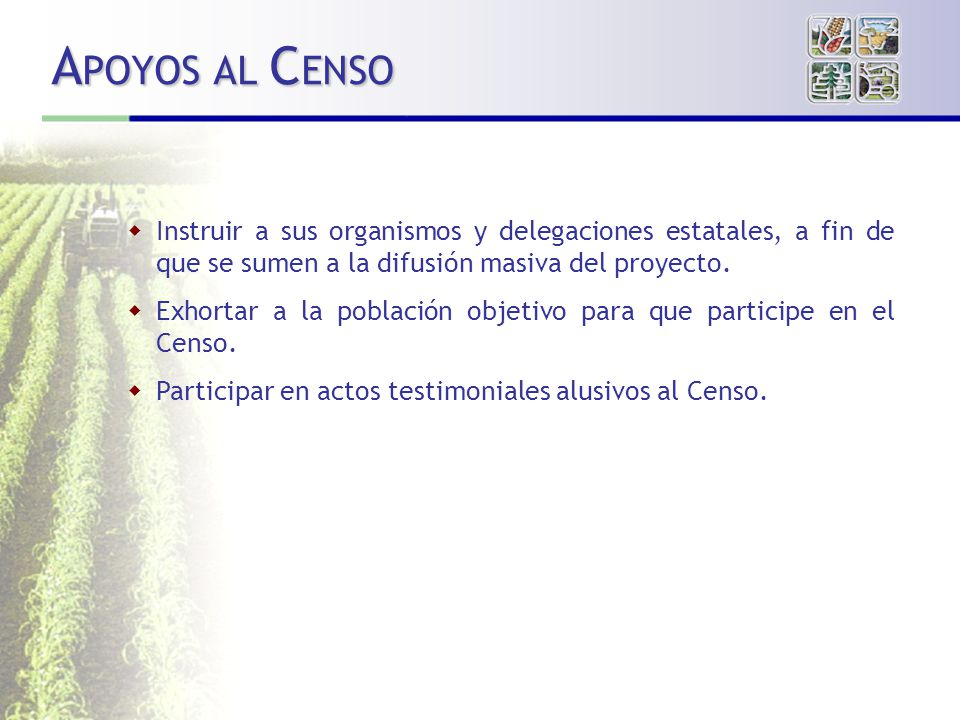 A POYOS AL C ENSO Instruir a sus organismos y delegaciones estatales, a fin de que se sumen a la difusión masiva del proyecto.