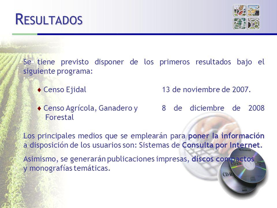 R ESULTADOS Se tiene previsto disponer de los primeros resultados bajo el siguiente programa: Censo Ejidal13 de noviembre de 2007.