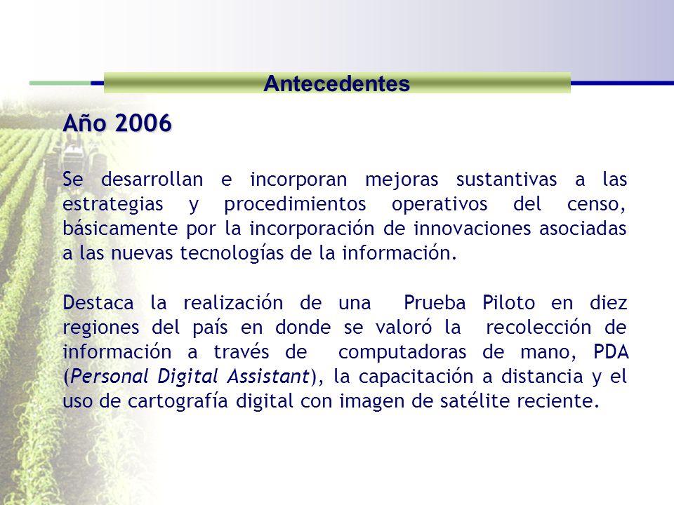 Antecedentes Año 2006 Se desarrollan e incorporan mejoras sustantivas a las estrategias y procedimientos operativos del censo, básicamente por la incorporación de innovaciones asociadas a las nuevas tecnologías de la información.
