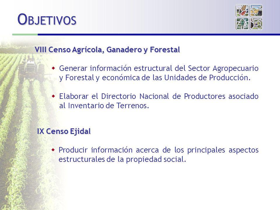 VIII Censo Agrícola, Ganadero y Forestal Generar información estructural del Sector Agropecuario y Forestal y económica de las Unidades de Producción.