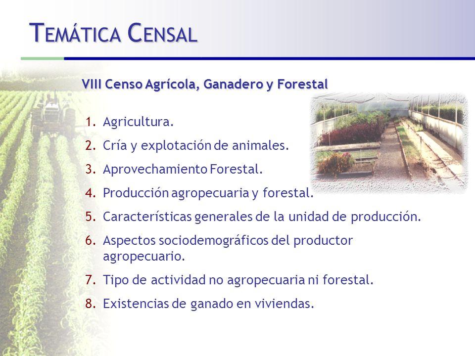T EMÁTICA C ENSAL VIII Censo Agrícola, Ganadero y Forestal 1.Agricultura.