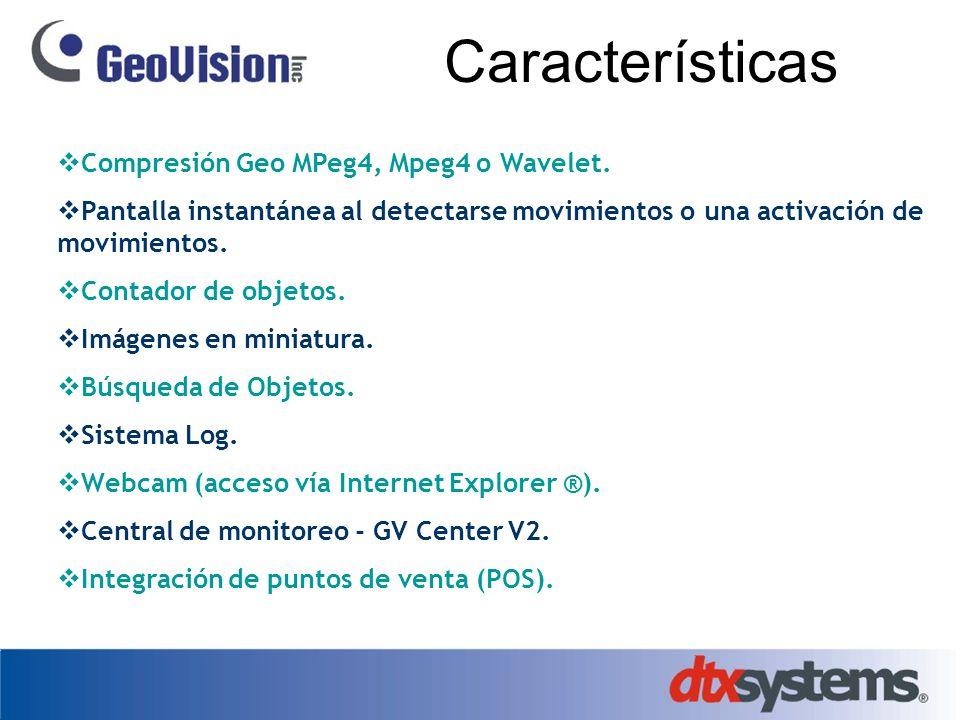 Características Compresión Geo MPeg4, Mpeg4 o Wavelet. Pantalla instantánea al detectarse movimientos o una activación de movimientos. Contador de obj