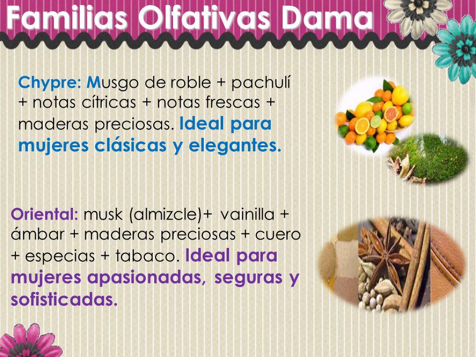 Familias Olfativas Dama Chypre: M usgo de roble + pachulí + notas cítricas + notas frescas + maderas preciosas. Ideal para mujeres clásicas y elegante