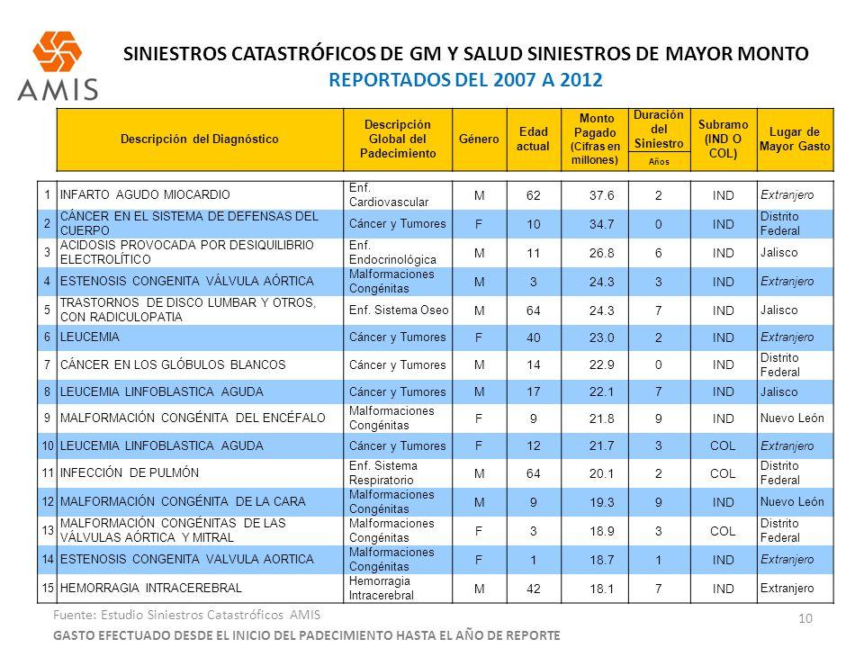SINIESTROS CATASTRÓFICOS DE GM Y SALUD SINIESTROS DE MAYOR MONTO REPORTADOS DEL 2007 A 2012 10 Fuente: Estudio Siniestros Catastróficos AMIS Descripci