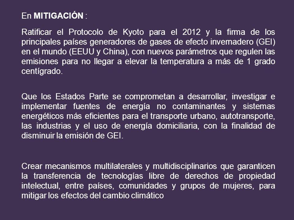En MITIGACIÓN : Ratificar el Protocolo de Kyoto para el 2012 y la firma de los principales países generadores de gases de efecto invernadero (GEI) en
