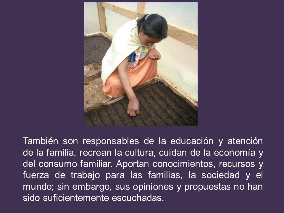 También son responsables de la educación y atención de la familia, recrean la cultura, cuidan de la economía y del consumo familiar. Aportan conocimie