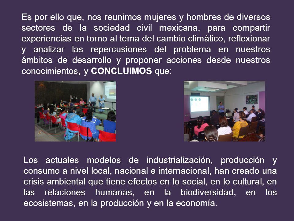 Es por ello que, nos reunimos mujeres y hombres de diversos sectores de la sociedad civil mexicana, para compartir experiencias en torno al tema del c