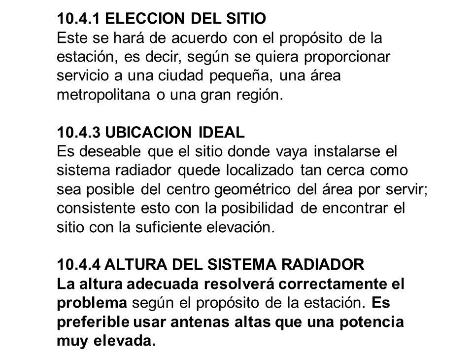 10.4.1 ELECCION DEL SITIO Este se hará de acuerdo con el propósito de la estación, es decir, según se quiera proporcionar servicio a una ciudad pequeña, una área metropolitana o una gran región.